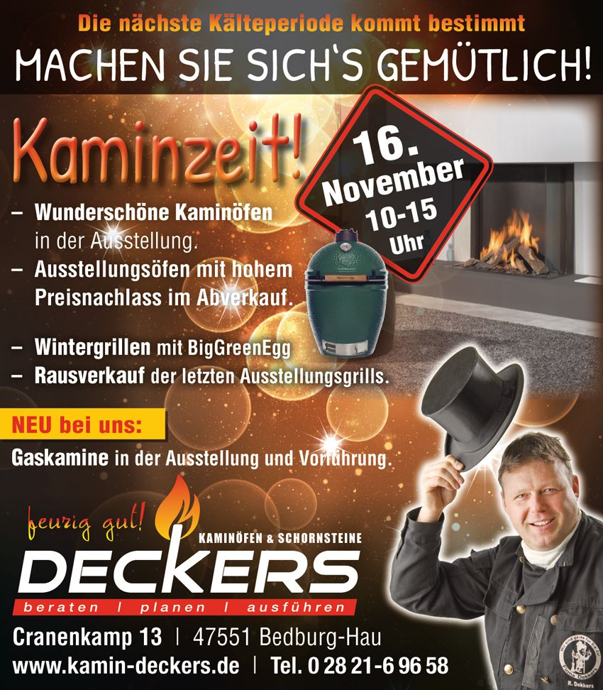 Aktionstag Kaminöfen Deckers, 16. November 2019